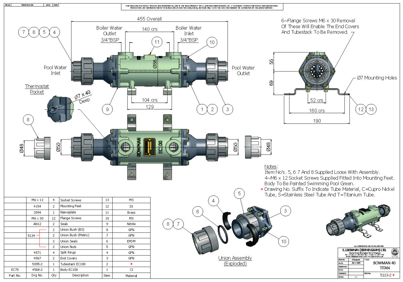 Drawing of the heat exchanger BOWMAN 40 Titan