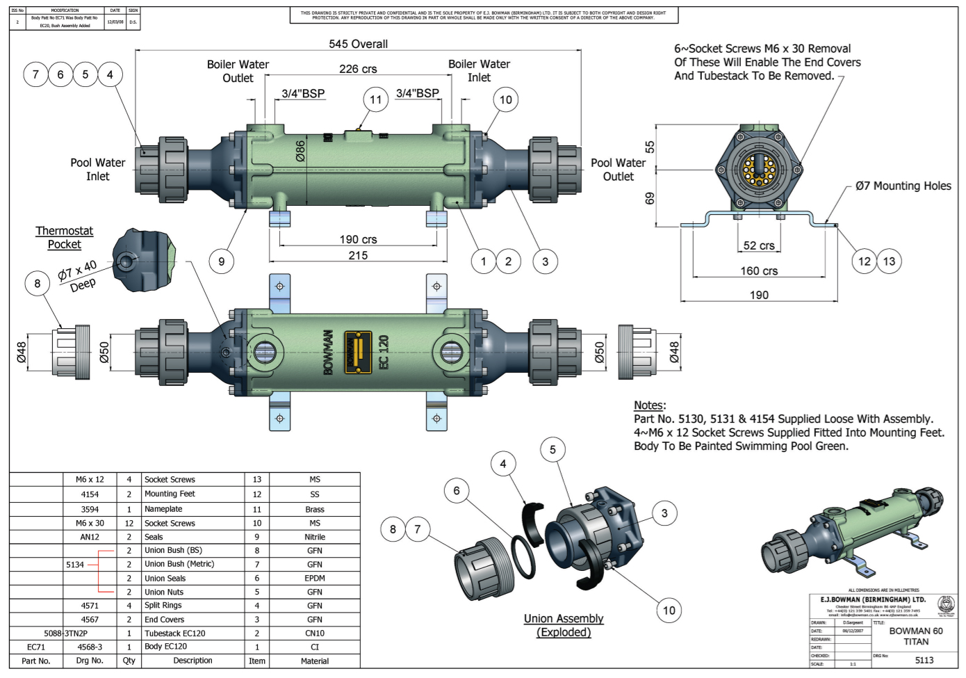 Drawing of the heat exchanger BOWMAN 60 Titan